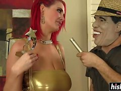 Redhead babe with big tits gets plowed