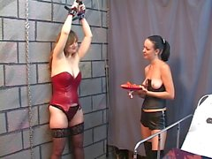 Bound BDSM slut watches Brunette with ponytail eat fruit topless with master