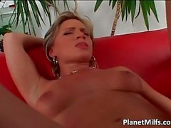 Busty blond MILD gets her anus fingered and fucked on a sofa
