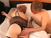 Wake up his aunty by playing with her fat pussy