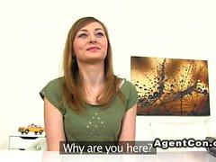 Czech amateur brunette banged in casting
