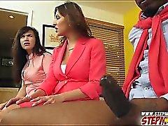 Paris Lincoln and stepmom Jazmyn shares on huge black cock