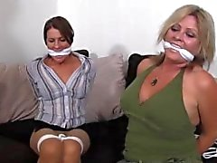 Girlfriends caught playing tie-up games and getting gagged and hogtied!