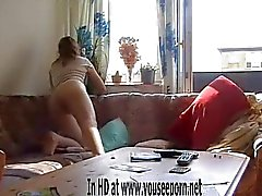 Anja Graversen striptease in living room