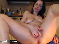 Big Natural Tits Milf Inserts Huge Dildos In Pussy And Ass