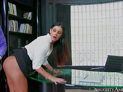 Man fucks the hell out of leggy MILF India Summer at the office