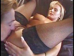 European blonde MILF spreads her legs wide for an ass fucking