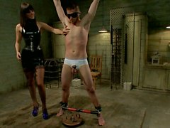 Gorgeous female vs slaveboy in quiet room