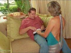 Hot mom slut in shiny silver skirt sucks dick