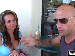 Tattooed guy bangs a sweet girl