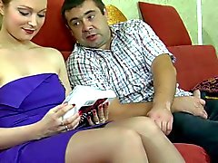 Hot blonde russian milf in stockings gets fucked