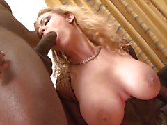 Blonde Milf fucked hard by two black guys in her ass and pussy