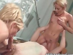 Two horny bigtit blonde babe gets pussy