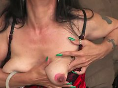 Nina Swiss is a skinny MILF with a pretty hairy pussy and a