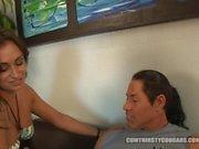 Dirty Latina Claudia Valentine fucks Pool Guy Cock