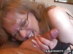 Busty amateur wife handjob blowjob with cum in mouth