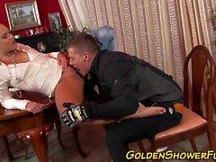 Goldenshower slut blows