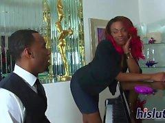Curvy ebony mama gets her muff hammered