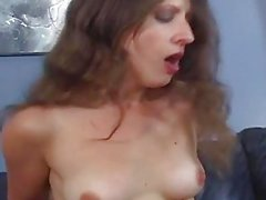 Flirty brunette milf hairy pussy wrecking with horny daddy