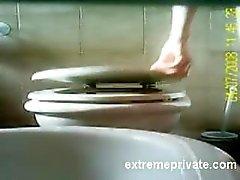 Hidden camera my Mom shaving pussy on toilet