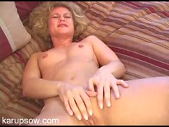 Small tits milf rubs her gorgeous shaved pussy