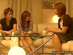 Japanese mature women have a threesome