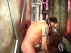 Two sexy dominatrix girls whip a guys ass