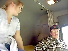 Trucker fucks a milf in his cab