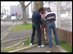 Syvlie fucked in the street by 2 guys