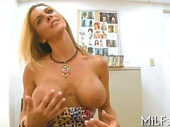 Busty blonde amateur exposes her delightful and ripe body