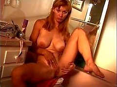 C-cup blonde spreads her legs to finger her pussy and ass