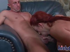 Stacked Shannon pleasures a big shaft orally