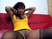 Horny redheaded ebony in stockings takes a hung white perv.