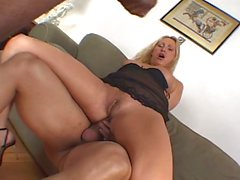 Threeway fucking with monster dongs and blonde mom