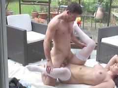 Milf with stretch marks fucked outdoors