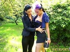 Kinky lesbian pees on ho