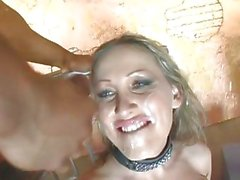 Mandy Bright filled with creamy cum on face