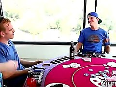 Perv loses in poker but ends fucking his friends hot MILF