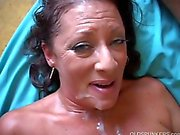 Very sexy old spunker enjoys a hard fuck and a sticky facial