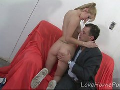 Blonde teen gets banged by a horny businessman