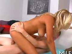 Blonde barbie milf slides down a megalodong