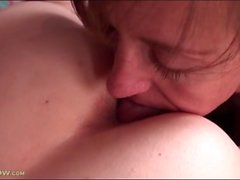 Beautiful lesbian moms lick pussy in bed