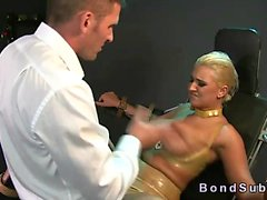 Huge tits blonde in latex lingerie bangs in bdsm