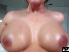 Oiled up MILF likes deep anal