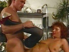 Sexy Brunette Office MILF In Stockings