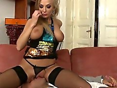 Big titted blonde in lingerie enjoys oral
