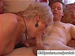 Gorgeous cougar sucks cock and eats cum