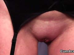 Kinky honey gets cum shot on her face swallowing all the jui
