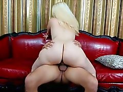 Blonde fat newbie riding hard cock