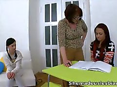 Lesbian threesome of two teens and milf